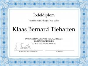 JodelDiplom Klaas Bernard Tiehatten